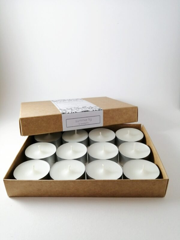 summer fig tealight candles product box open