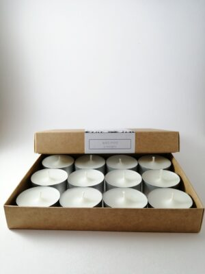 wild mint tealight candles product box open