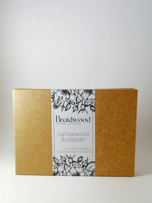 sandalwood and pepper tealights product box
